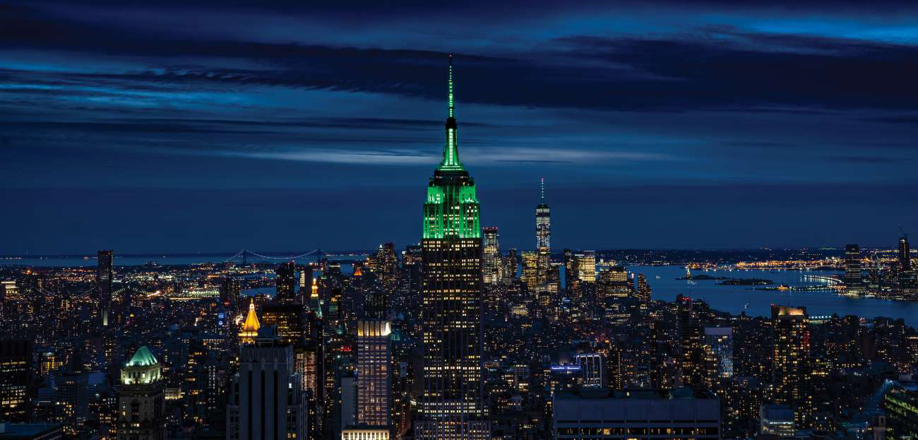 Empire State Building lit in Green