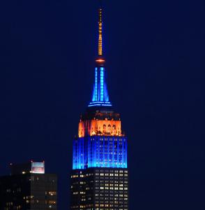 The Empire State Building Lit for the New York Mets Opening Day