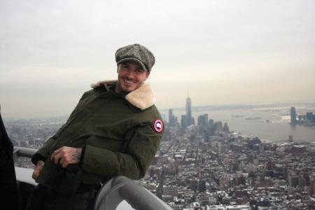 David Beckham visits the Empire State Building