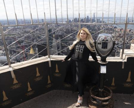 Meghan Trainer visits the Empire State Building