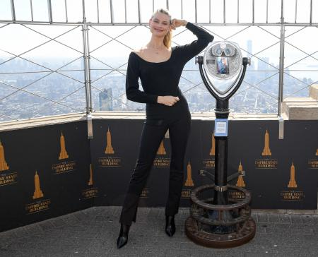 Behati Prinsloo visits the Empire State Building