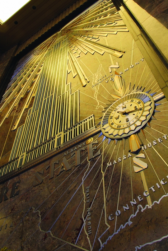Lobby empire state building for Empire state building mural